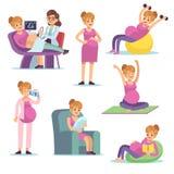 Mulher gravida Comer fêmea da dieta da gravidez assento bebendo fazendo exercícios, caráteres do vetor dos desenhos animados ilustração stock