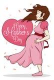 Mulher gravida da beleza com mensagem do cumprimento para o dia de mãe, ilustração do vetor Imagens de Stock Royalty Free