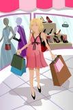 Mulher gravida da compra ilustração stock