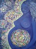 Mulher gravida da pintura Fundo abstrato da cor Imagens de Stock