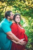 Mulher gravida do beijo do homem no vestido vermelho imagens de stock