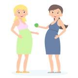 Mulher gravida dois bonito Esperando o conceito Estilo liso Ilustração do vetor ilustração stock