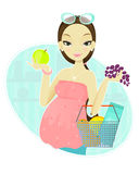 Mulher gravida e frutas Fotos de Stock Royalty Free