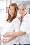Mulher gravida e matriz que sorriem feliz foto de stock royalty free