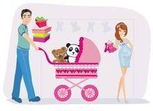 mulher gravida e seu marido na compra ilustração stock