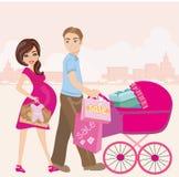 mulher gravida e seu marido na compra ilustração royalty free