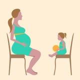 Mulher gravida e uma menina ilustração stock