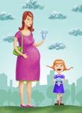 Mulher gravida e uma menina Fotos de Stock Royalty Free