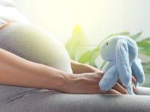 A mulher gravida está jogando a boneca do coelho em sua mão Fotos de Stock Royalty Free