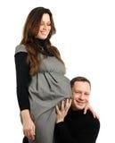 Mulher gravida feliz com marido fotos de stock