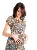 mulher gravida feliz de 21 semanas Fotos de Stock Royalty Free