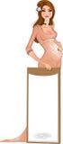 Mulher gravida na cor-de-rosa com fundo ilustração do vetor
