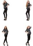 A mulher gravida na imagem composta isolada no branco Imagens de Stock Royalty Free