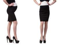 A mulher gravida na imagem composta isolada no branco Foto de Stock