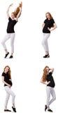 A mulher gravida na imagem composta isolada no branco Fotografia de Stock