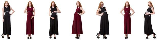 A mulher gravida na imagem composta isolada no branco Imagem de Stock