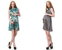 A mulher gravida na imagem composta isolada no branco Fotos de Stock