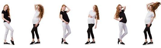 A mulher gravida na imagem composta isolada no branco Imagem de Stock Royalty Free