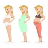Mulher gravida na roupa e no roupa interior diferentes Estilo liso Ilustração do vetor ilustração royalty free