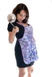 Mulher gravida no avental Imagens de Stock