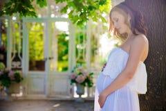 Mulher gravida, no vestido branco na natureza foto de stock