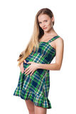 Mulher gravida no vestido verde Foto de Stock Royalty Free