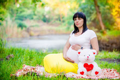 Mulher gravida perto do lago Imagem de Stock Royalty Free