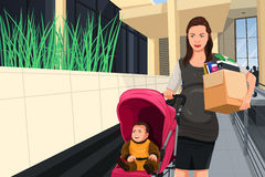 Mulher gravida que deixa seu trabalho tomar de seu bebê Foto de Stock Royalty Free