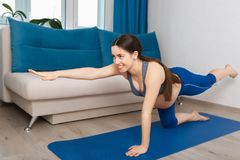 Mulher gravida que faz o exercício da ioga fotografia de stock royalty free
