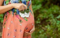 Mulher gravida que guarda montantes Fotos de Stock Royalty Free