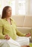 Mulher gravida que meditating Foto de Stock Royalty Free