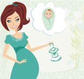 Mulher gravida tem um nascimento a uma menina - cartão da festa do bebê Foto de Stock Royalty Free