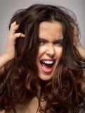 Mulher gritando Imagens de Stock