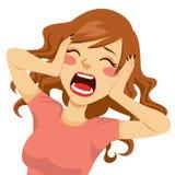 Mulher gritando desesperada ilustração royalty free