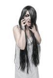 Mulher gritando irritada do fantasma místico de Dia das Bruxas fotos de stock royalty free