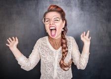 Mulher gritando louca imagens de stock