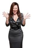 Mulher gritando no vestido cinzento Imagem de Stock Royalty Free