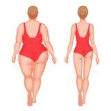 Mulher grossa e mulher delgada ilustração royalty free