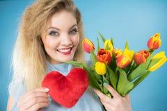 A mulher guarda tulipas e o coração vermelho Foto de Stock