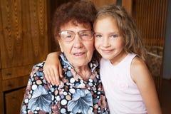Mulher idosa com bisneto Fotografia de Stock Royalty Free