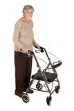 Mulher idosa com caminhante Imagem de Stock Royalty Free