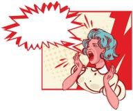 Mulher impressa - grito retro da ilustração do clipart Fotos de Stock Royalty Free