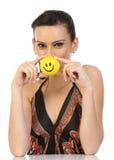 Mulher indiana com esfera do sorriso imagens de stock