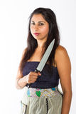 Mulher indiana com faca Fotografia de Stock