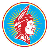Mulher indiana da mulher pele-vermelha do nativo americano Imagem de Stock