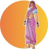 Mulher indiana no sari ilustração stock