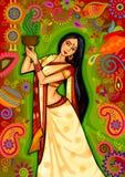 Mulher indiana que faz a dança do dhunuchi de Bengal durante a celebração de Durga Puja Dussehra na Índia Foto de Stock Royalty Free