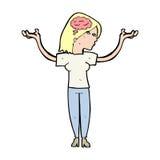 mulher inteligente dos desenhos animados ilustração royalty free