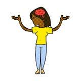 mulher inteligente dos desenhos animados cômicos ilustração stock