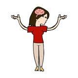 mulher inteligente dos desenhos animados cômicos ilustração royalty free